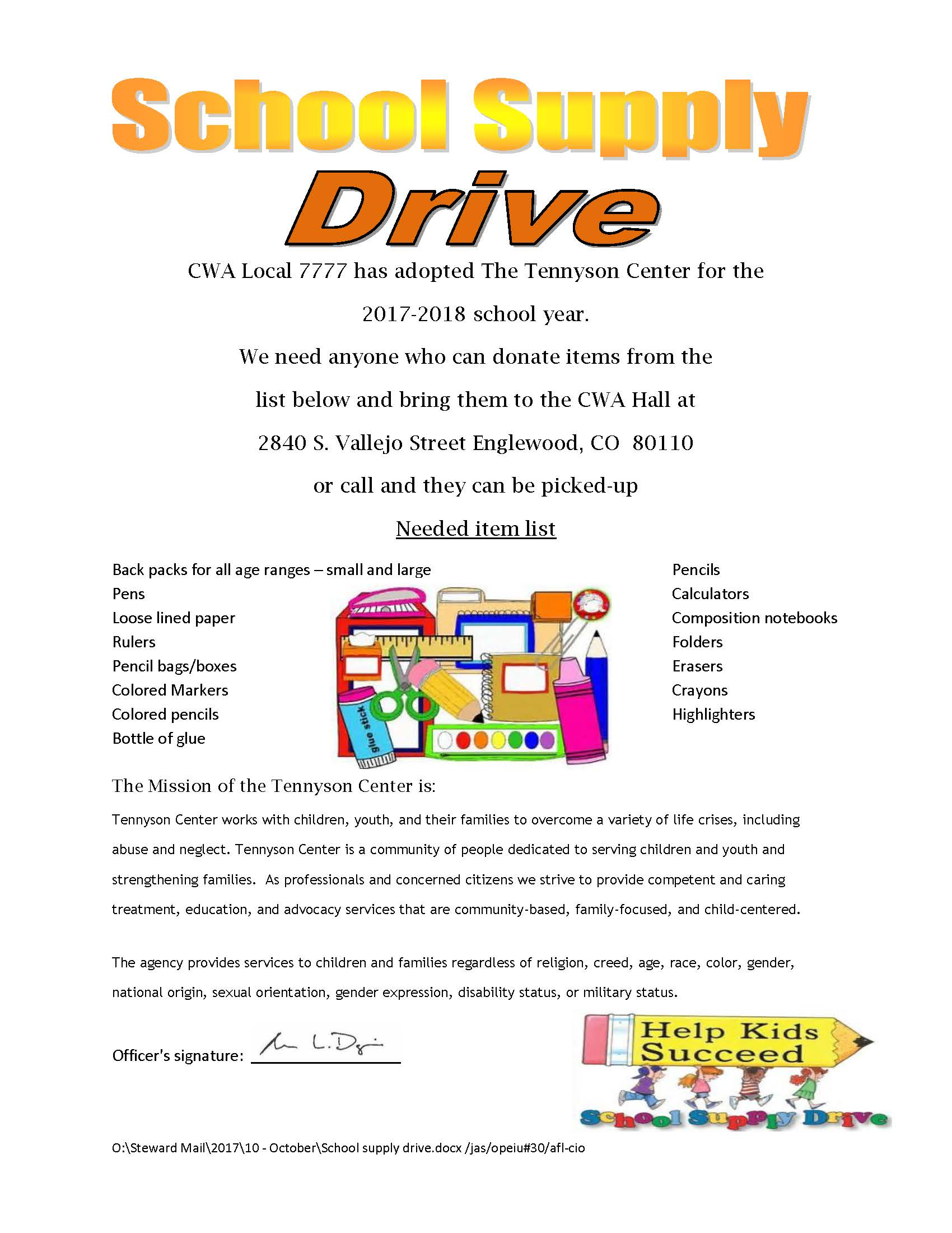 Cwa local 7777 school supply drive fandeluxe Gallery